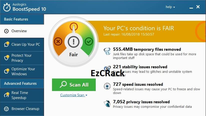 Auslogics BoostSpeed 10 Crack Key Free Download
